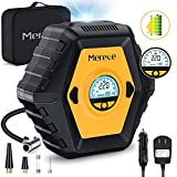Merece Tire Inflator Air Compressor - Cordless Rechargeable Car Tire Pump Portable Air Compressor for Car Tires Bike & Other Inflatables, AC/DC 12V Auto Stop Air Pump with Pressure Gauge 150PSI Max