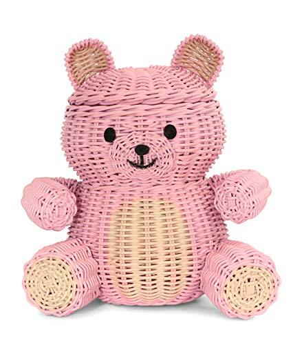 G6 COLLECTION Large Bear Rattan Storage Basket with Lid Decorative Home Decor Hand Woven Shelf Organizer Cute Handmade Handcrafted Gift Art Decoration Artwork Wicker Bear (Pink Bear)