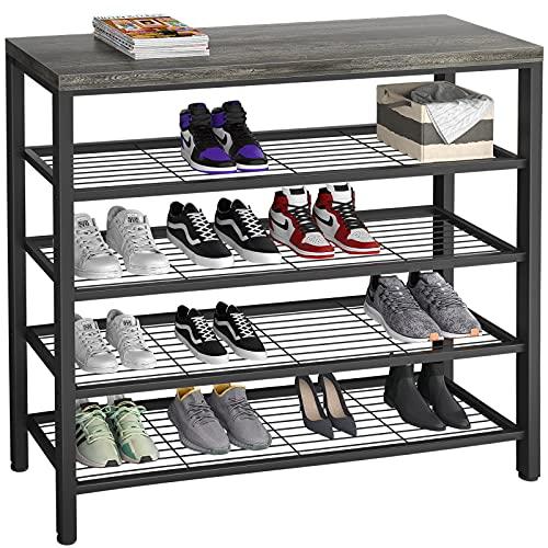 Homfio Shoe Rack, Industrial Shoe Storage Organizer, Large 5-Tier Metal Shoe Rack Shelves with Wood Board, Entryway Table for Hallway, Living Room, Closet, Bedroom, Black Oak