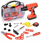 Elitoky Kids Tool Set - Pretend Play Toddler Construction Toy with Tool Box, Kids Electric Power Drill Toy Construction Tool Accessories Gift for Girls Boys Ages 3 , 4, 5, 6, 7 Years Old