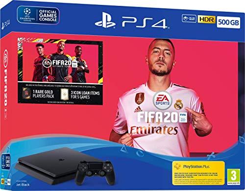 Sony PlayStation 4 Slim 500 GO + FIFA 20 + PS Plus 14 jours, Avec 1 Manette Sans Fil DUALSHOCK 4 V2