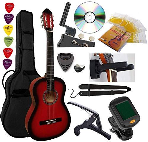 Guitarra Española Clásica 4/4 (Adulto) 7/8 3/4 1/2 1/4 (Niño) + 6 Accesorios ~ 6 Colores (3/4, Rojo)