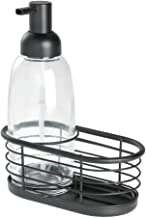 iDesign Bathroom Accessories Set, Small Basket with Glass and Metal Dispenser, Sink Tidy for Liquid Soap, Clear/Matte Blac...