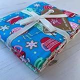 Stoffpaket mit Weihnachtsmotiven für Patchwork, Quilten,