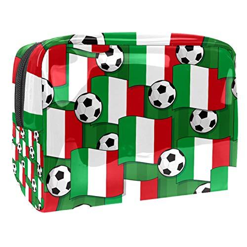 Bolso de Cosméticos Bandera Italiana con fútbol Viaje de Maquillaje Organizador de Almacenamiento Cosmético de la Bolsa de Trabajo Impermeable para Las Mujeres 18.5x7.5x13cm