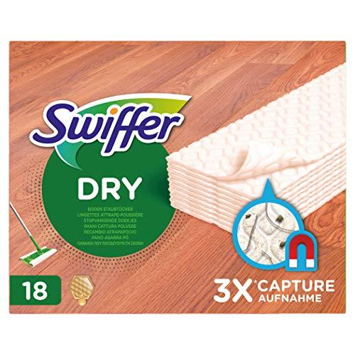 Swiffer Bodenwischer Trockene Bodentücher (18 Tücher) für Holz & Parkett, Wischer ideal gegen Staub, Tierhaare & Allergene
