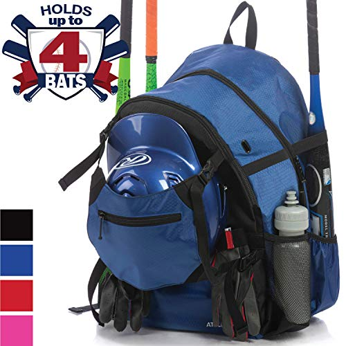 Athletico Advantage Baseball Bag - Baseball Backpack with External Helmet Holder for Baseball, T-Ball & Softball Equipment & Gear for Youth and Adults | Holds Bat, Helmet, Glove, Shoes (Blue)