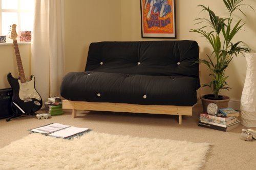 Comfy Living 4ft Small Double 120cm Wooden Futon Set with BLACK Mattress