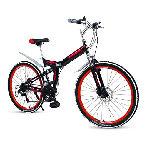 GUOE-YKGM Bicicleta Plegable Urbana Bici De Montaña Plegable 24/21 26inch Velocidad Shimano Marcha De Bicicleta De Suspensión Completa Bicicletas MTB (Rojo, Azul, Negro) (Color : Red, Size : 24inch)