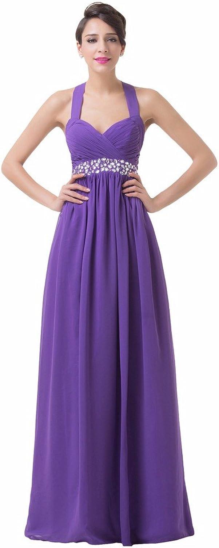 Vampal Purple Halter Beaded Sweetheart Empire Waist Bridesmaid Dress