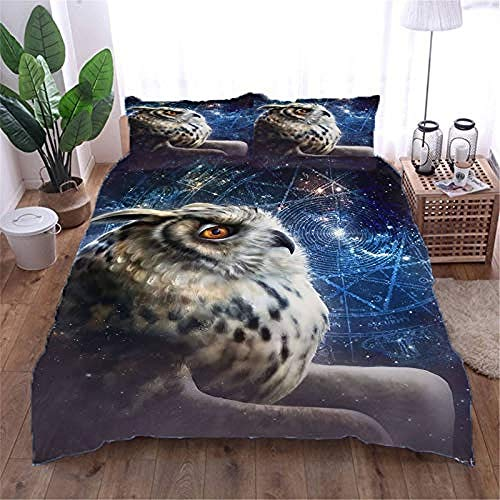 YYZCM King Size Duvet Cover Set Printing 3D owl Bedding Set Brushed Microfiber Soft Touch & Breathable Polyester Quilt Cover with 2 Pillowcases and Zipper Closure,King size 220x230cm/86.5x90.5 inches