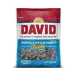 DAVID Roasted and Salted Buffalo Style Ranch Jumbo Sunflower Seeds, Keto Friendly, 5.25 oz