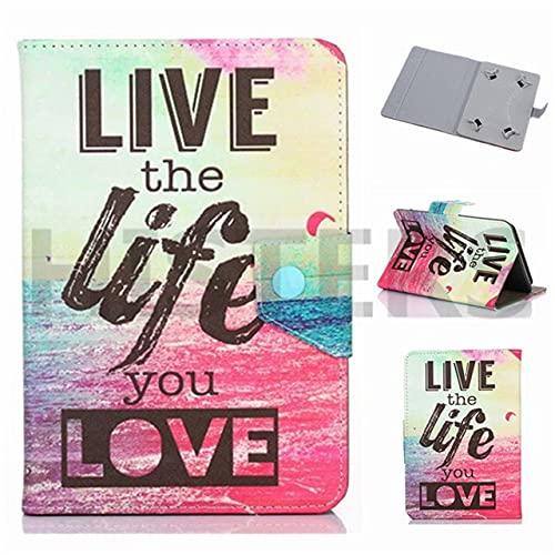 Funda universal para tablet de 10 pulgadas, con soporte universal para Tab de 10', diseño con texto 'Girly Love', color rosa