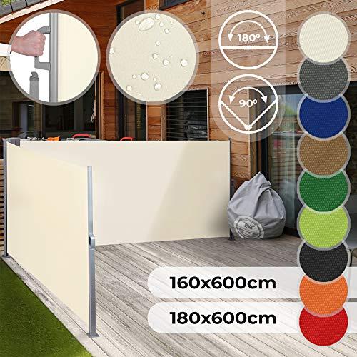 Jago Tenda Parasole Laterale Avvolgibile - Dimensione e Colore a Scelta 160x600, 180x600 cm, Protezione UV, Montaggio a Pavimento - Tenda Paravento da