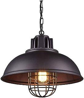 AUA Suspension Luminaire Industrielle Vintage E27 Rétro Lustre Abat-jour en Métal Lampe Pendentif Lumière Noir Plafonnier ...