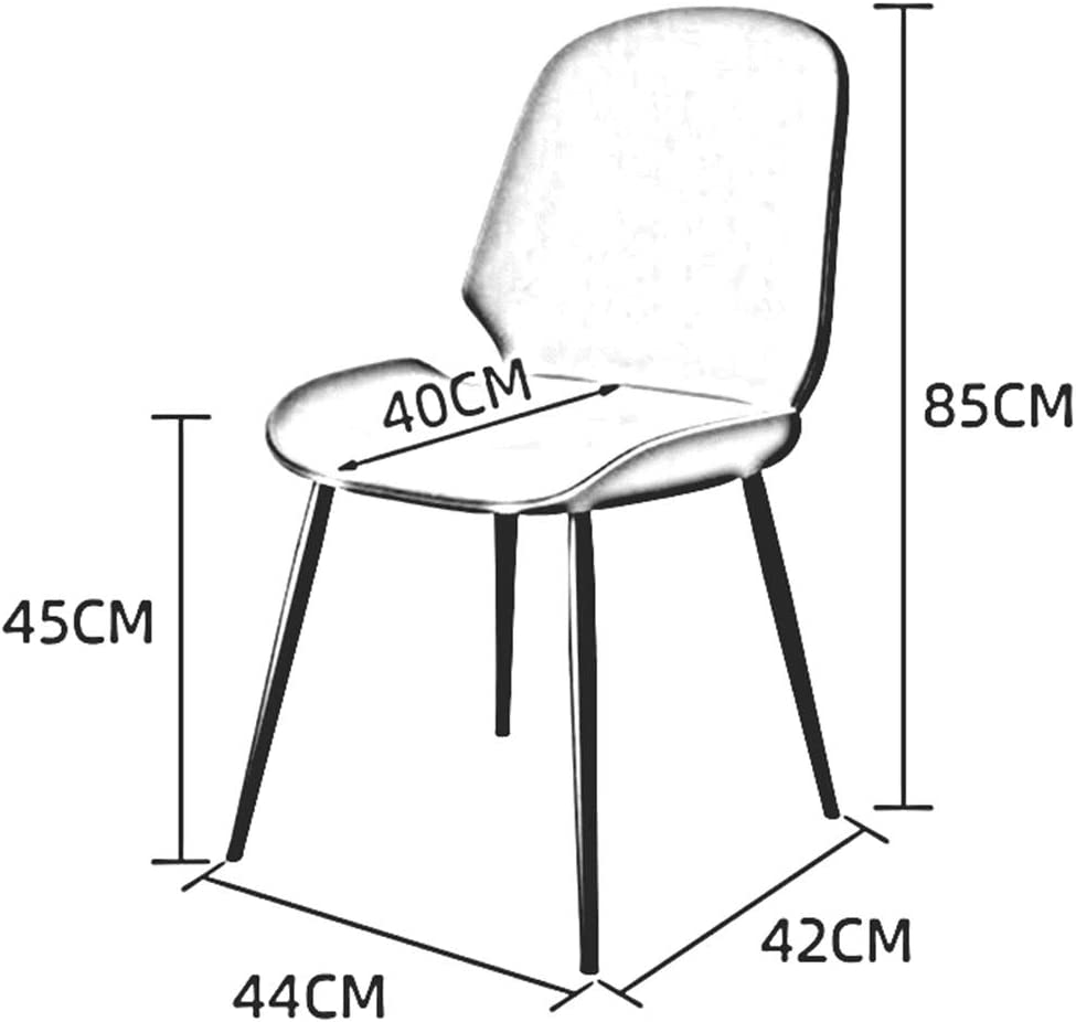 DALL Chaises De Salle à Manger Nordiques,Coussin PU,Chaise De Table avec Dossier,Chaise De Maquillage De Jambes en Métal,Facile à Assembler,44X42x85 Cm(Color:T4) T1