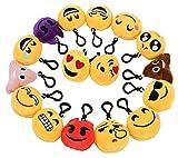 Zindoo Porte clé Emoji Lot de16 Pcs Mignon Mini Emoji Porte- clés Caca Emoji Marrant Peluche Porte Clef Emoji , Décoration d'halloween ,soirée ,Anniversaire,Cadeau de Pâques