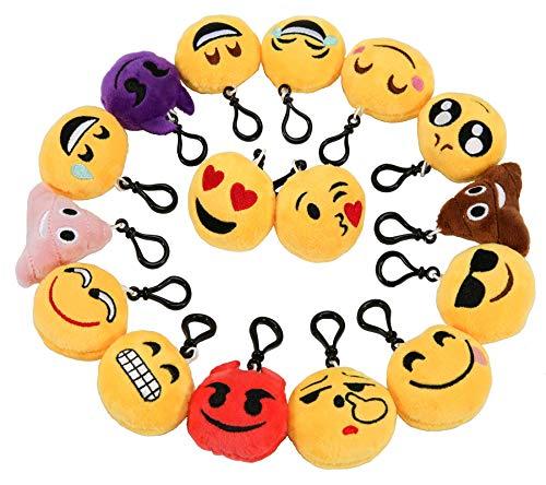 Zindoo Kindergeburtstag 16 Emoji Schlüsselanhänger Plüsch Tasche Anhänger 6cm Plüsch Kissen Geschenke, Party Geburtstag Anhänger Dekorationen Zubehör für Taschen und Rucksäcke