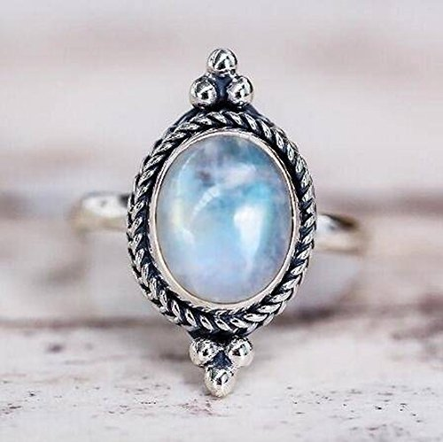 Thumby Dames Vintage Thais Zilver Maansteen Ring Legering Geometrische Plating Vrouwen Maansteen