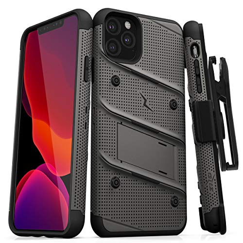 ZIZO Bolt Series iPhone 11 Pro Max Case - Heavy-Duty Military-Grade Drop Protection w/Kickstand Included Belt Clip Holster Tempered Glass Lanyard - Gun Metal Gray