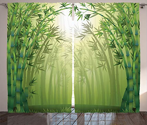 ABAKUHAUS Grün Rustikaler Gardine, Bambus-Bäume im Wald, Schlafzimmer Kräuselband Vorhang mit Schlaufen und Haken, 280 x 175 cm, Grün