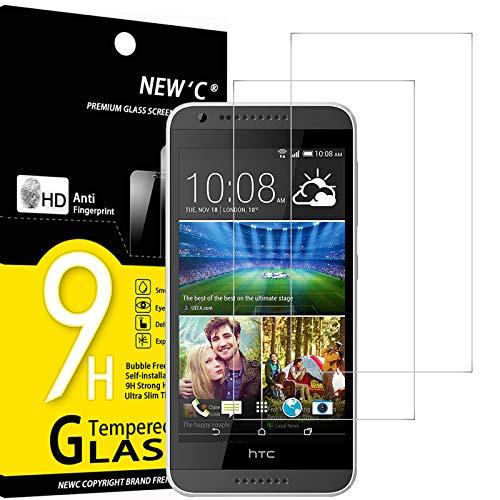 NEW'C 2 Stück, PanzerglasFolie Schutzfolie für HTC Desire 620, Frei von Kratzern Fingabdrücken & Öl, 9H Festigkeit, HD Bildschirmschutzfolie, 0.33mm Ultra-klar, Ultrawiderstandsfähig