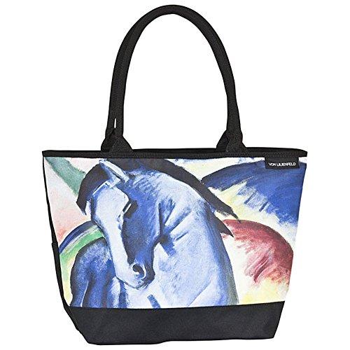 VON LILIENFELD Bolsa Compra Shopper Grande de Playa Bandolera Motivo Arte Mujer Franz Marc: Caballo Azul