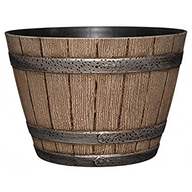 GARDENGOODZ Whiskey Barrel Planter, Distressed Oak, 9  (Durable high density resin construction)