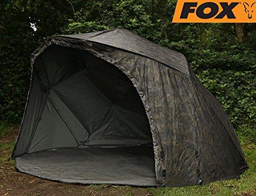 Fox Ultra 60 Brolly Ventec Ripstop System Camo 178x262x128cm - Angelschirm zum Karpfenangeln, Angelzelt, Karpfenzelt, Zelt