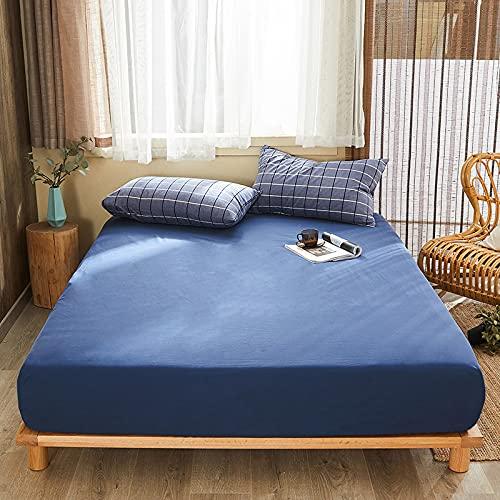 HAIBA Sábana bajera de lujo, 103 % algodón, suave, fácil de limpiar, antiarrugas y transpirable, para colchones con somier, 150 x 200 + 20 cm