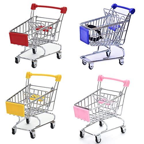 STEAM Mini Supermarket Handcart,4 Pack Supermarket Handcart Shopping Utility Cart Mode Storage Toy (Pink,Yellow,Red,Blue)