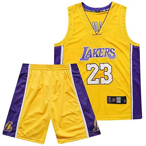 SSRSHDZW NBA Lakers James No. 23 - Uniforme de baloncesto (cuello redondo, bordado, talla 3XL), color amarillo