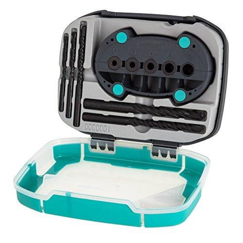 Wolfcraft 1000000 Kit Caja Plegable de plástico 2k Mini, Contenido: 5 Brocas Universal accumobil-guía para taladrar móvil Pack 1, 4-10 mm