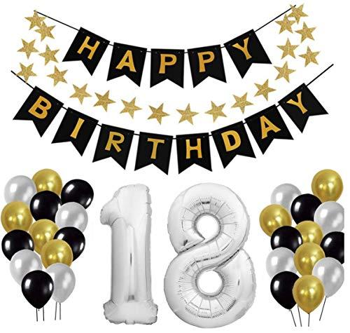 18 Geburtstag Dekoration Set, Deko Geburtstag, Geburtstagsdeko, Happy Birthday Dekoration. Zahlen Luftballons Silber XXL + 24 Große Geperlte Ballons + 1 Happy Birthday Banner (Silber)
