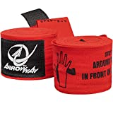 ArrowWay Instructional Hand Wraps w/ Printed Directions for Boxing & MMA - 142' Meister Elastic - Red