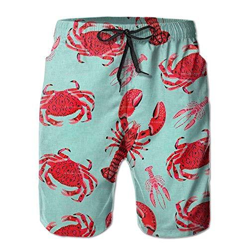 Rote Krabben Hummer Bilder Herren Strand Shorts Badehose Bademode Home Shorts