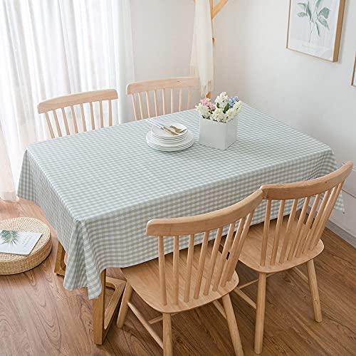 DSman Tischtuch Leinendecke Leinen Tischdecke Abwaschbar, für Home Küche Dekoration Gitterpastoral Tischmatte