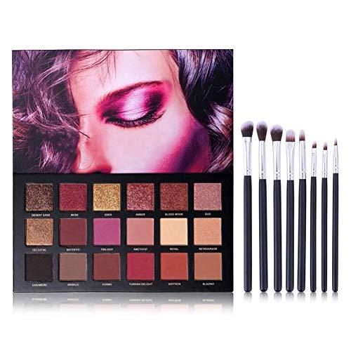 18 Couleur paupières palette + 8-pièce ensemble de brosse de maquillage multifonctionnel, mat hautement pigmentées miroitement palette de mélange avec de la poudre de fard à paupières et