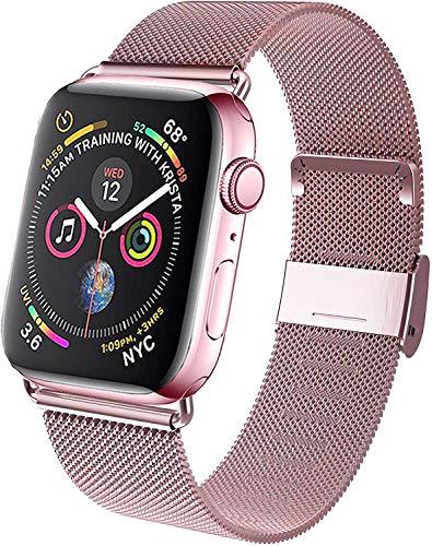 M MOUKOU Cinturini di Ricambio compatibili con Apple Watch, 42mm 44mm Cinturino Regolabile in Rete in Acciaio Inox per iWatch Serie SE/6/5/4/3/2/1