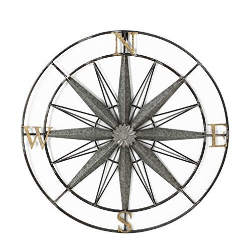 Adeco Decorative Compass Metal Wall Hanging Art Decor For Nature Home Art Decoration & Kitchen Halloween Christmas New Year Gift Home Decor - 27.5x27.5 Inches