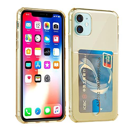GGOIl Funda Transparente para teléfono a Prueba de Golpes para iPhone 12Mini 12 11 Pro MAX X XS XR 7 8 Plus SE 2 Tarjetero de Silicona Suave con Tapa, Dorado, para iPhone 7Plus 8P