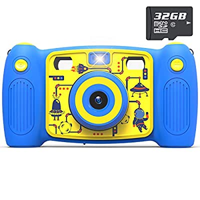 AKAMATE Kids Dual Selfie Camera, 1080P 12MP Kids Digital Camera with 32GB SD Card Children Video Camera Camcorder Toys Gifts for 4-10 Year Old Boys Girls, Build-in 5 Games, Voice Recorder by AKAMATE