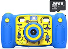 Kids Dual Selfie Camera, AKAMATE 1080P 12MP Kids Digital Camera with 32GB SD Card Children Video Camera Camcorder Toys Gifts for 4-10 Year Old Boys Girls, Build-in 5 Games, Voice Recorder (Blue)