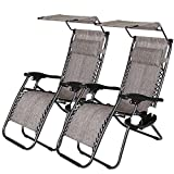 2 Pack Zero Gravity Chair, Folding Lounge Reclining W/Shade Canopy Deck Chaise with Adjustable...