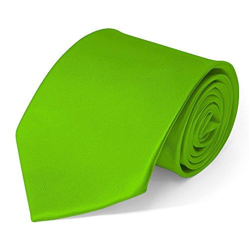 SoulCats Klassische Krawatte inkl. Anleitung breit viele Farben Satin Schlips Herren, Farbe:hellgrün