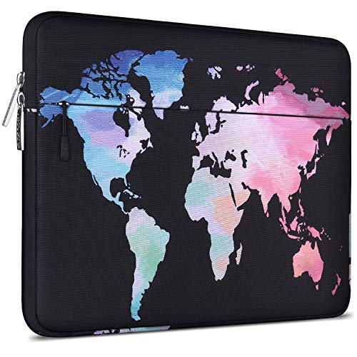 MOSISO Laptop Sleeve Compatible with 13-13.3 inch MacBook Pro, MacBook Air, Dell Lenovo HP Asus Acer Samsung Sony Chromebook Computer, Canvas Horizontal Pattern Bag, World Map Black