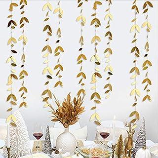 Pink Blume 52Ft - Decoración para fiestas de oro primavera, hojas, guirnalda, kit de papel para colgar, hojas de oro, banderines para decoración de fiestas de cumpleaños para bodas