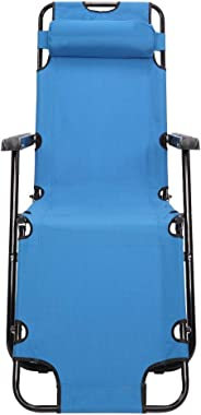 Adjustable Folding Reclining Chair, Heavy Duty Outdoor Camping Recliner Folding Cot with Pillow Pocket for Garden Yard Lawn S