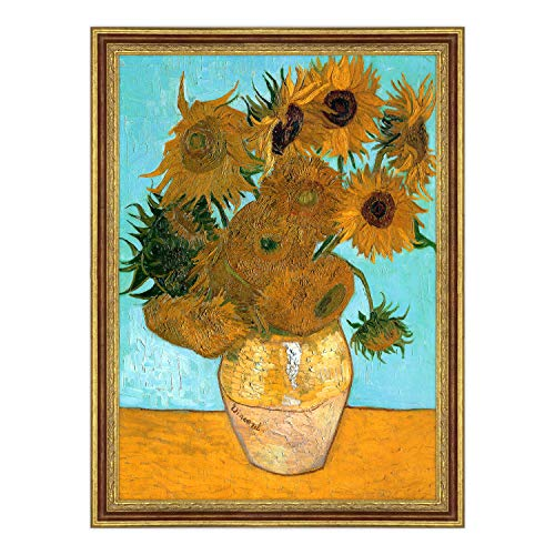 ConKrea Stampa con Cornice Classica - Van Gogh - Girasoli - 50x70cm - Classica Oro a Foglia Invecchiato Mogano