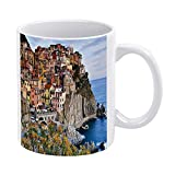 IUBBKI Cinque Terre Liguria Italia Panoramica Foto Estate Divertente sTea Tazze & Tazze Caffè Inspirational s and Sarcasm